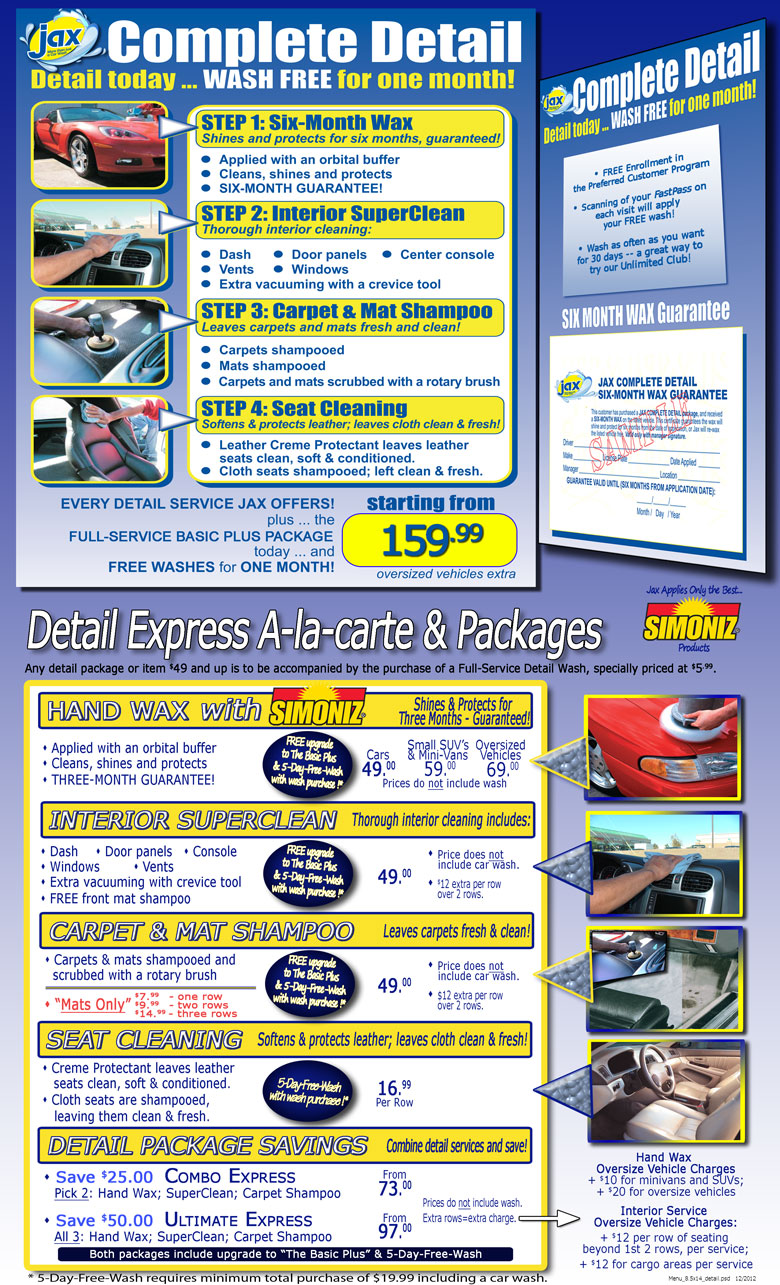 Jax Auto Detailing Menu of Services