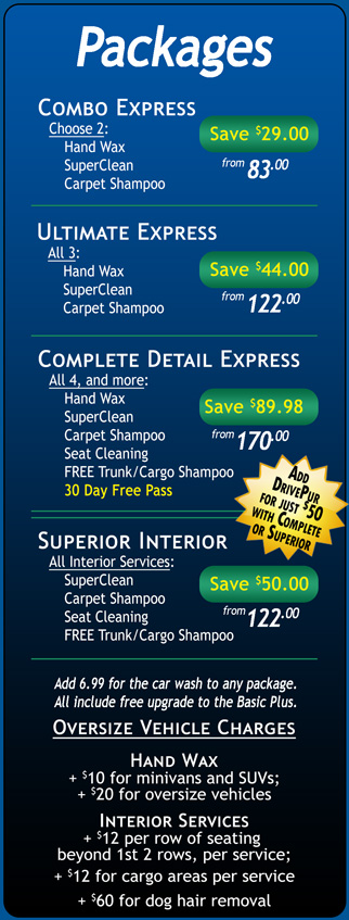 Auto Detailing Menu – Packages - Jax Kar Wash